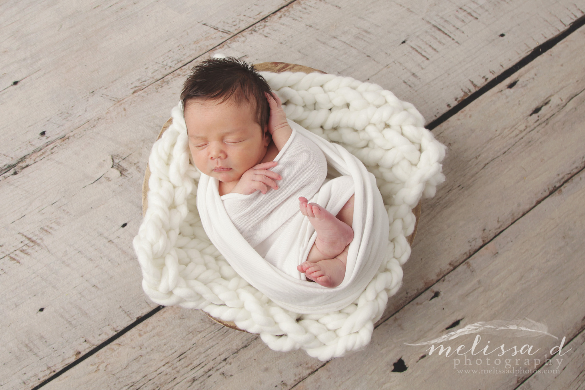 Fort Worth Newborn Photographer wrapped in white