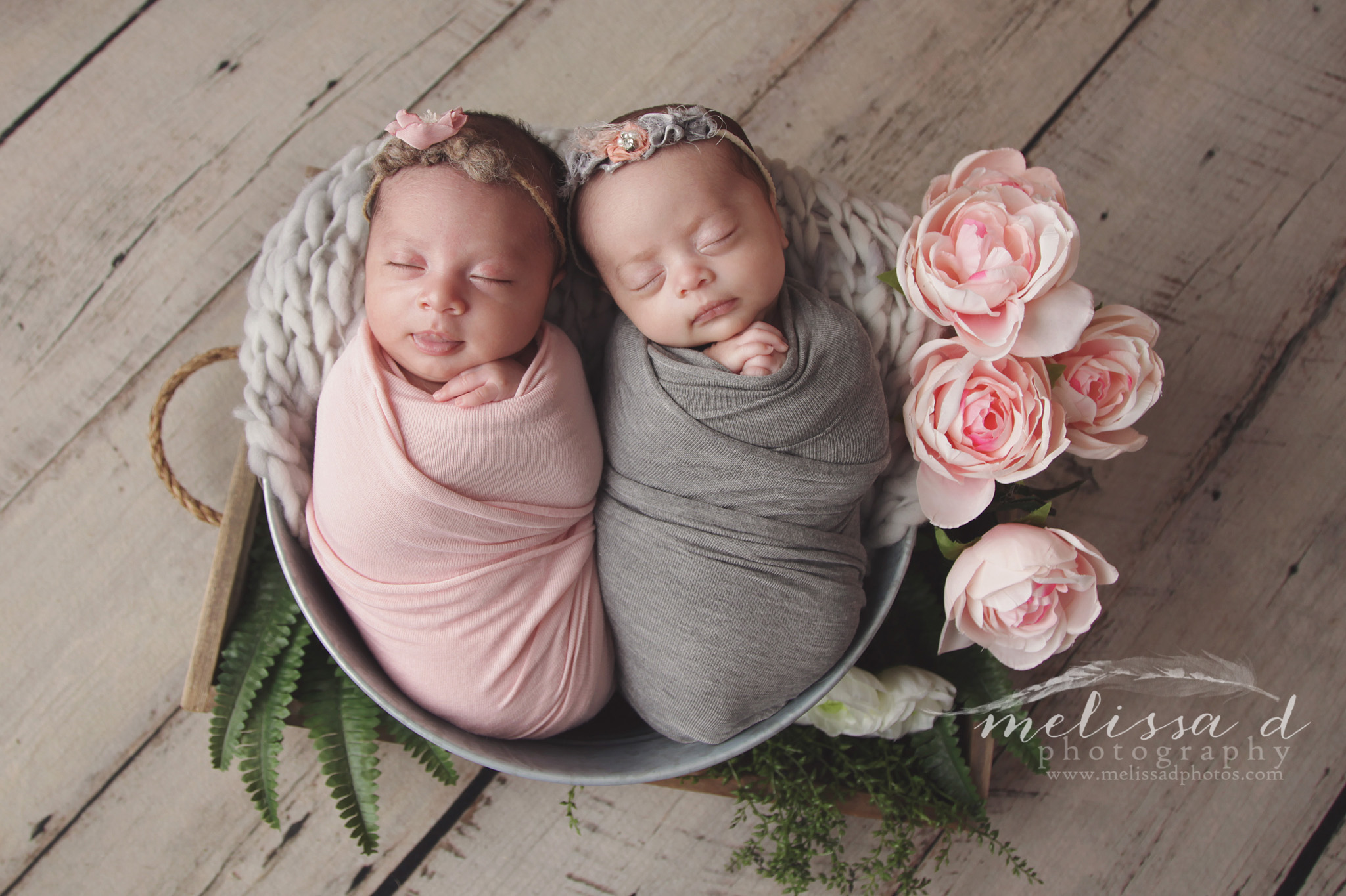 Ft. Worth Newborn Twin Photographer wrapped in prop flowers