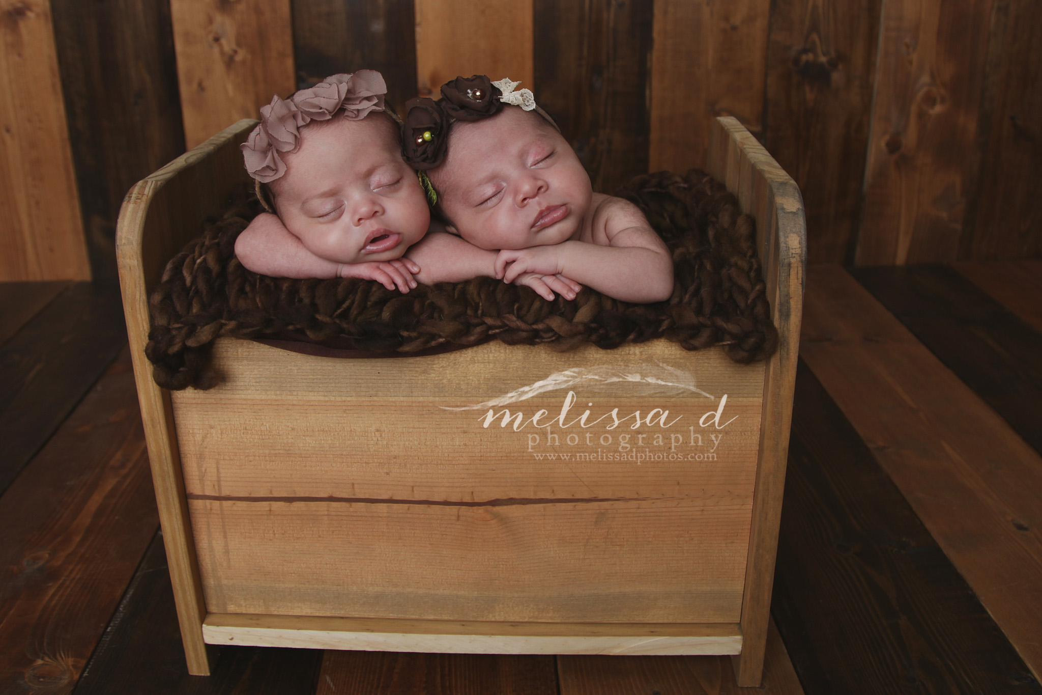 Ft. Worth Newborn Twin Photographer wood bed prop