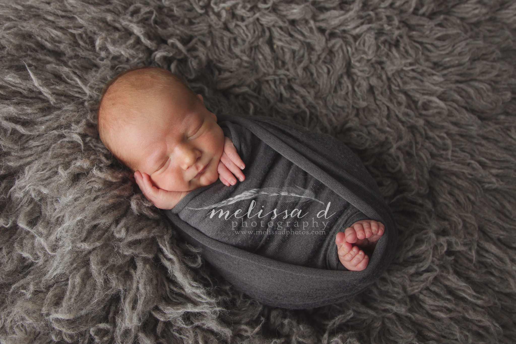 DFW Newborn Photographer wrapped toes peeking