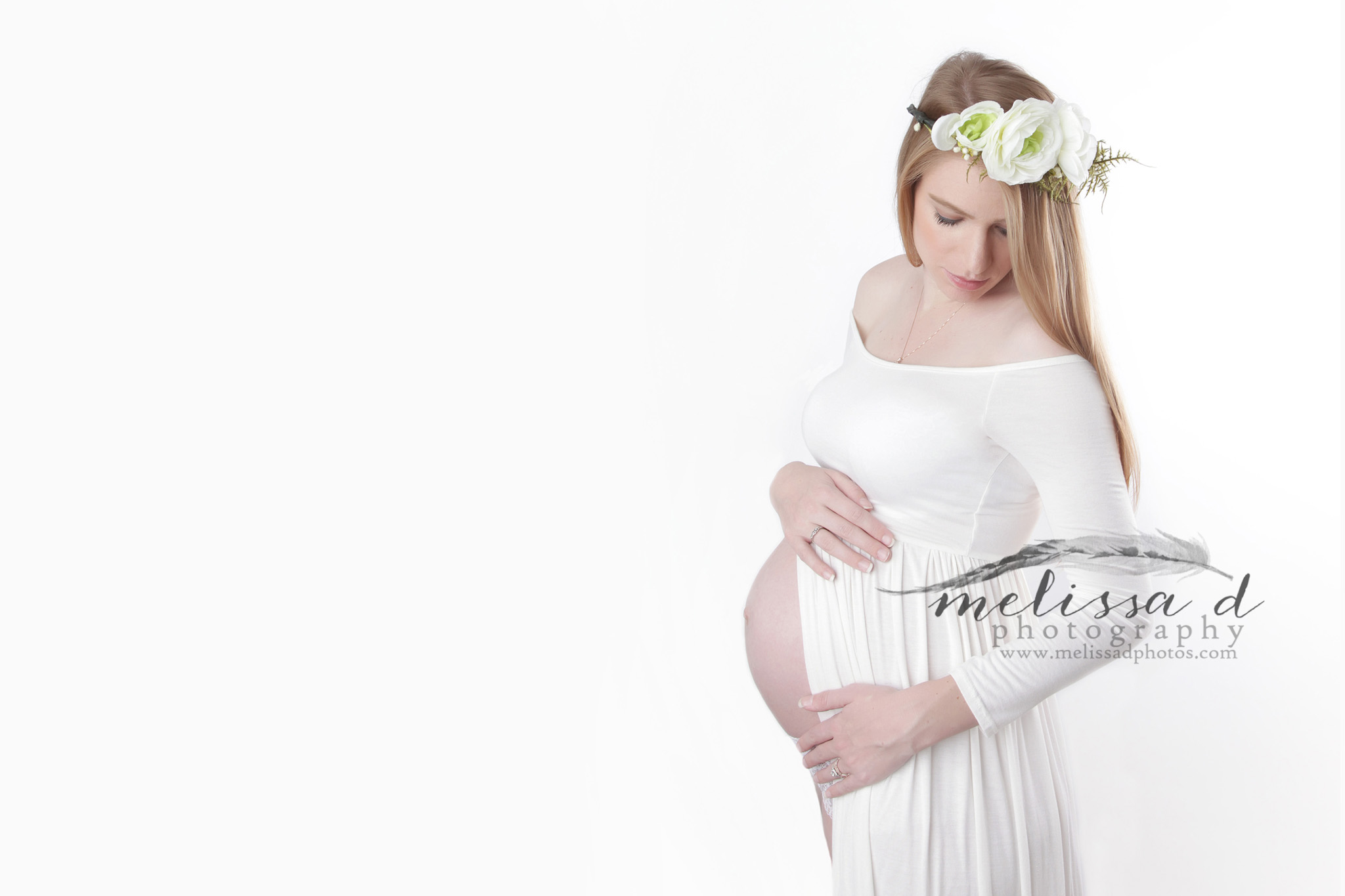 Fort Worth Maternity Photographer white dress floral crown