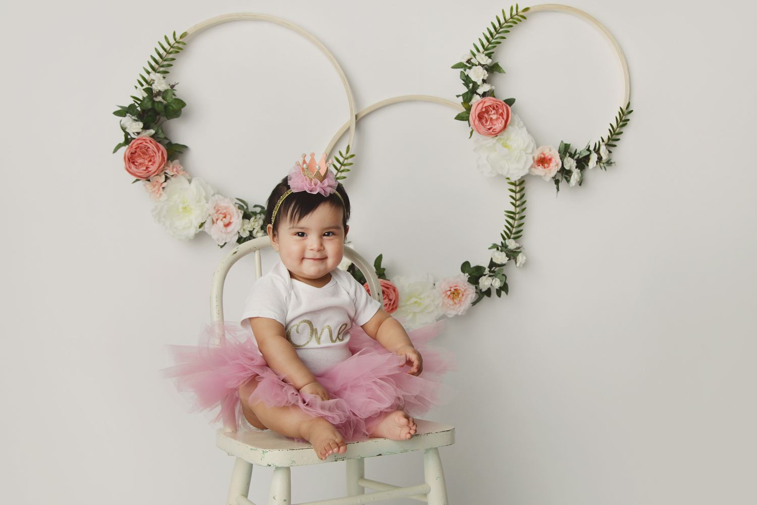 Fort Worth Baby Photographer floral rings one year old