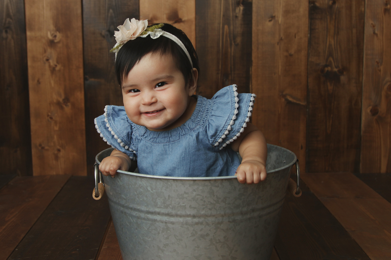 Fort Worth Baby Photographer baby in bucket one year old
