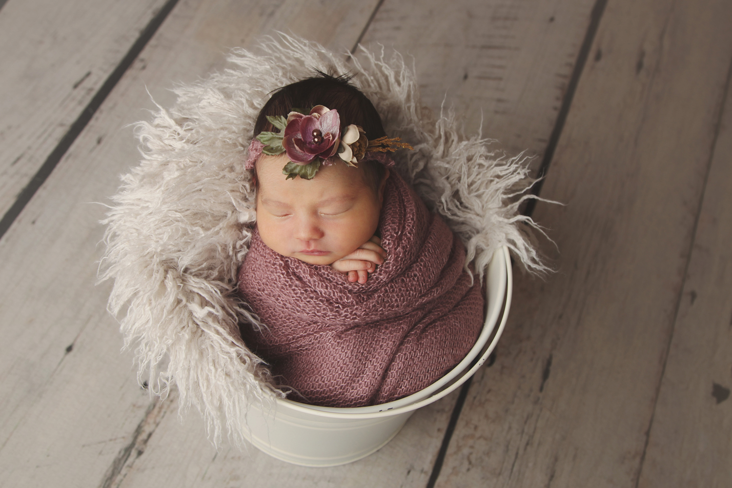 Fort Worth Newborn Photographer baby in bucket