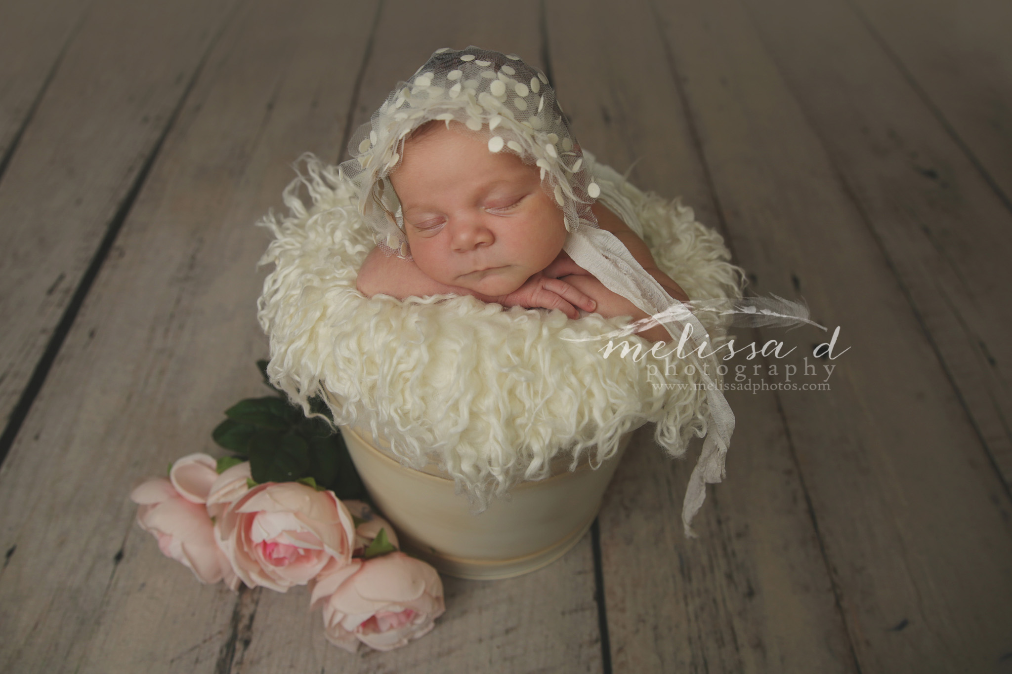 DFW Newborn Photographer flowers bonnet