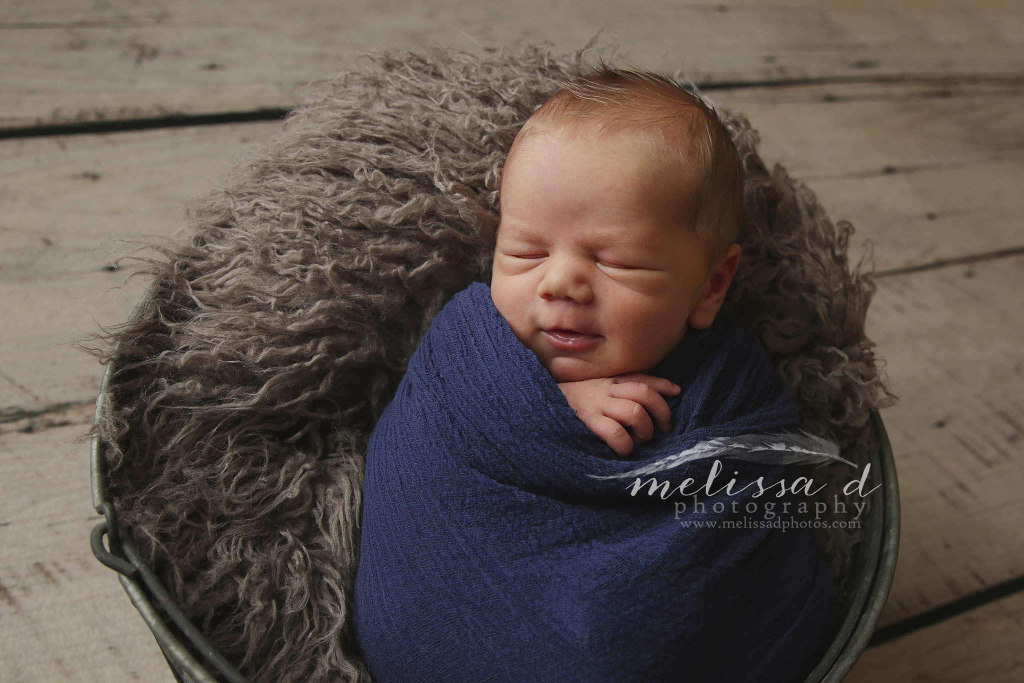 Fort Worth Newborn Photographer gray fur bucket prop