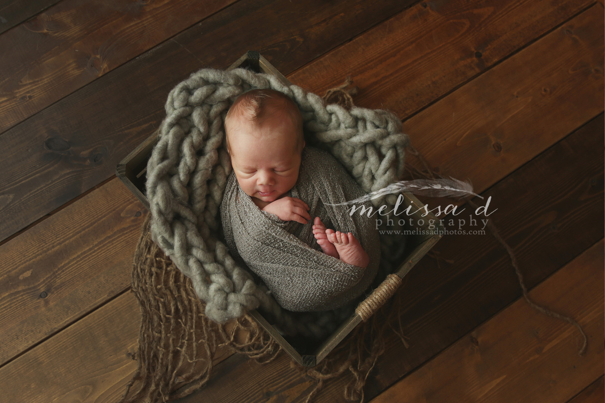 Fort Worth Newborn Photographer knitted layer wood crate