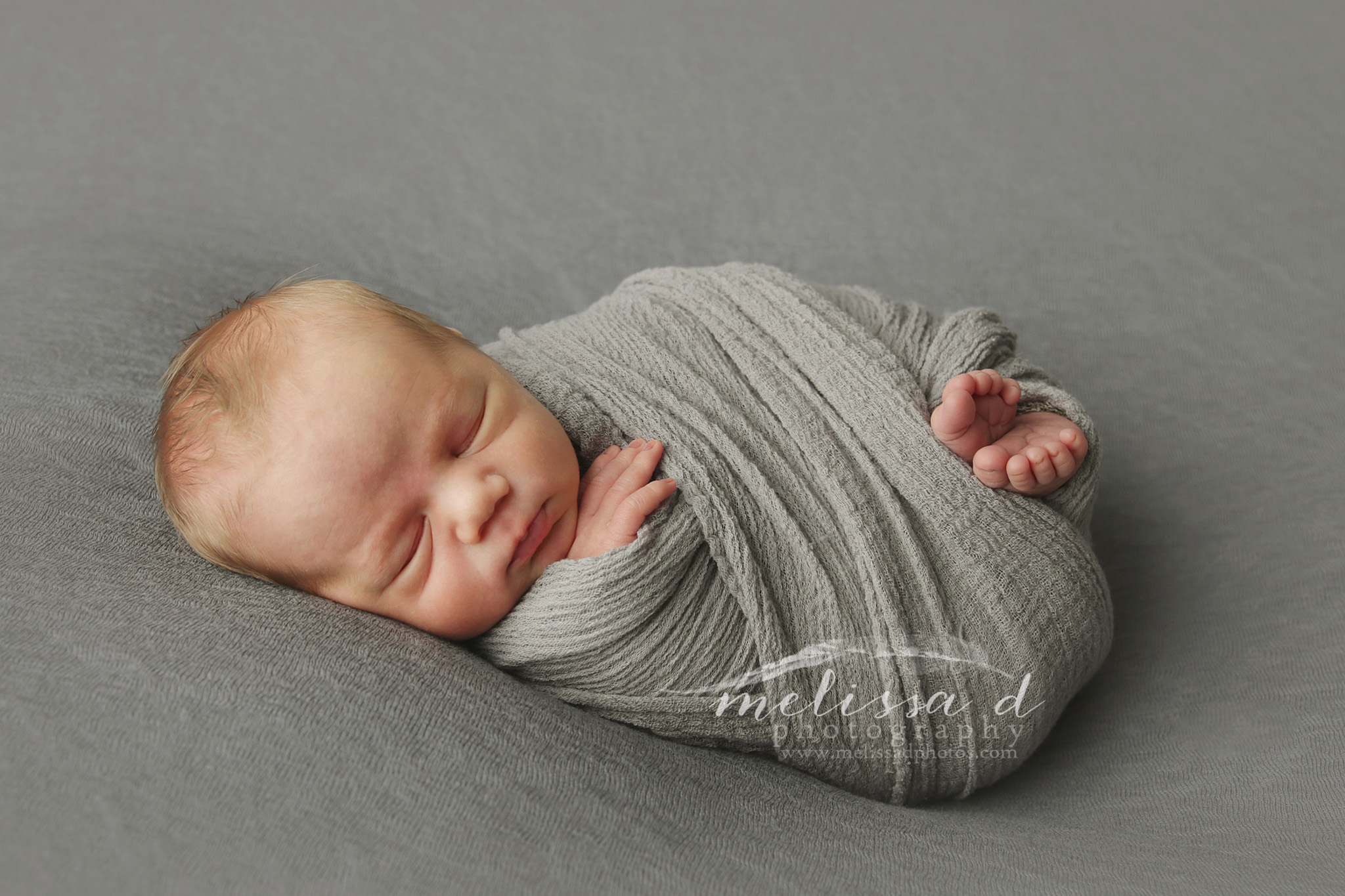 Fort Worth Newborn Photographer gray wrap toes peeking