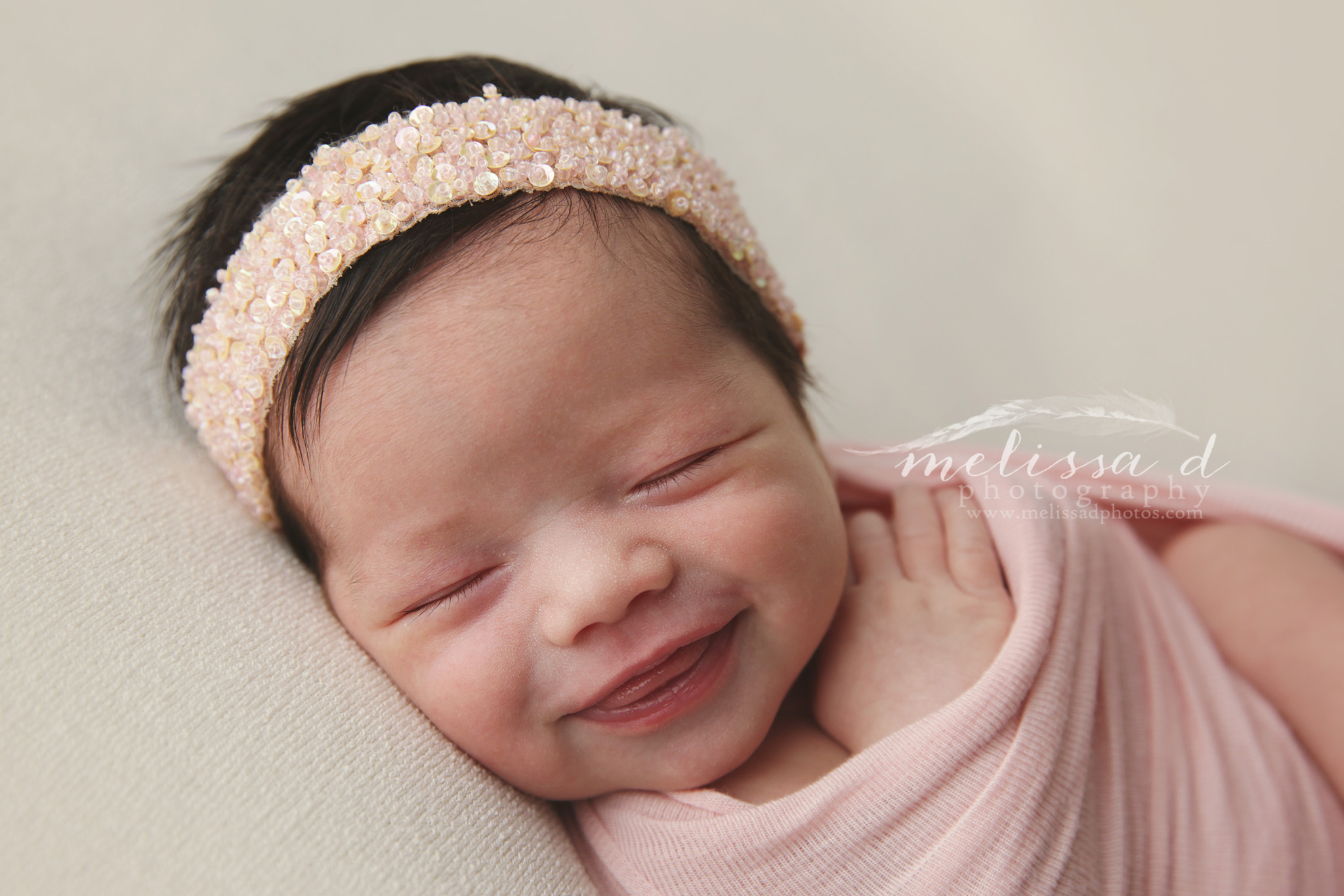 Dallas/Fort Worth Newborn Photographer big smile pink wrap