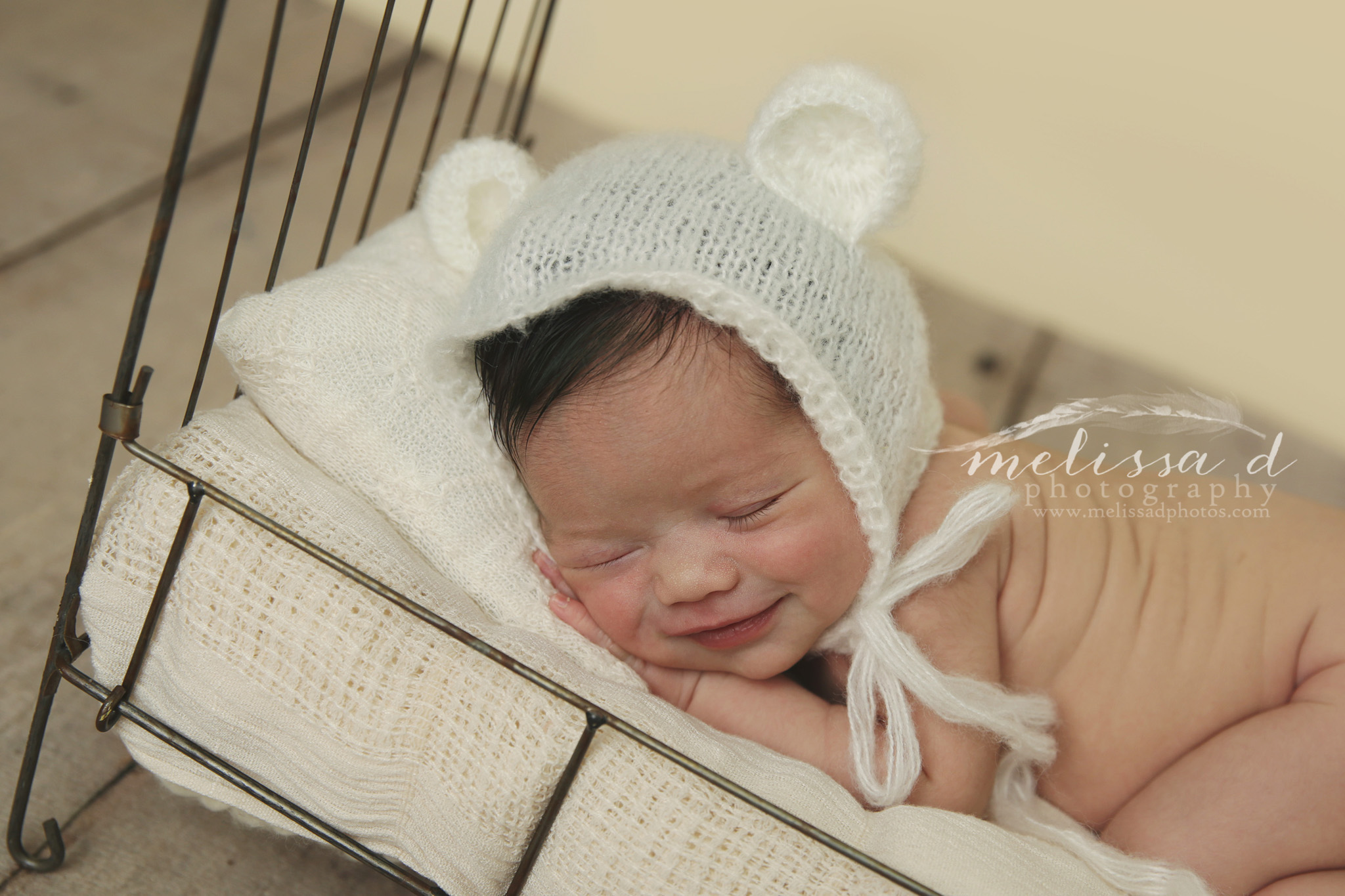 Dallas/Fort Worth Newborn Photographer bear hat iron bed