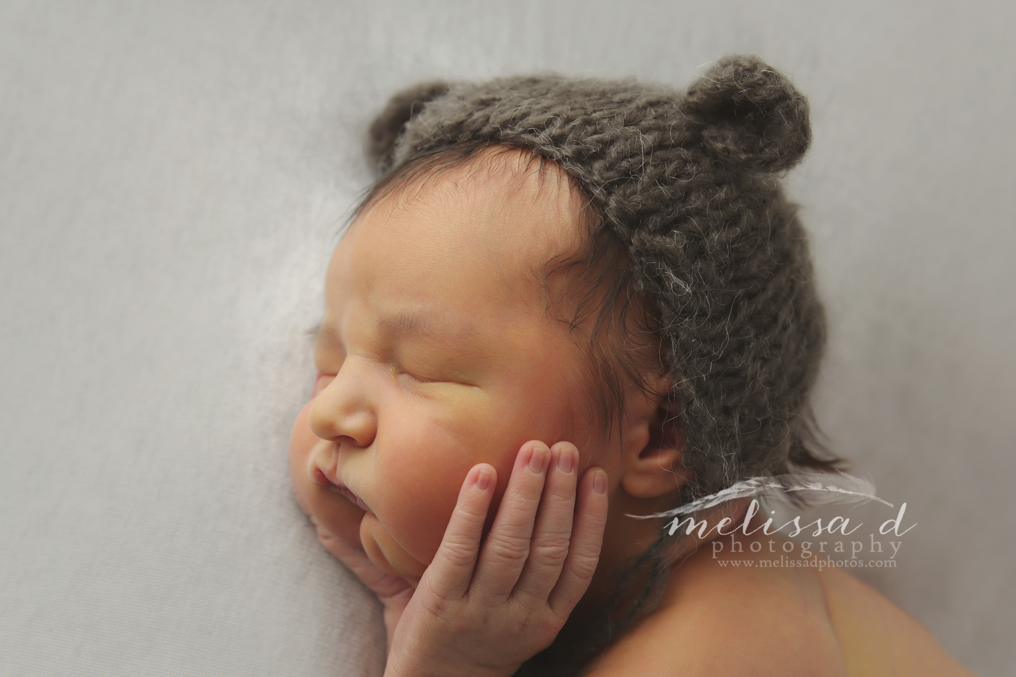 Dallas Newborn Photographer knitted bear hat