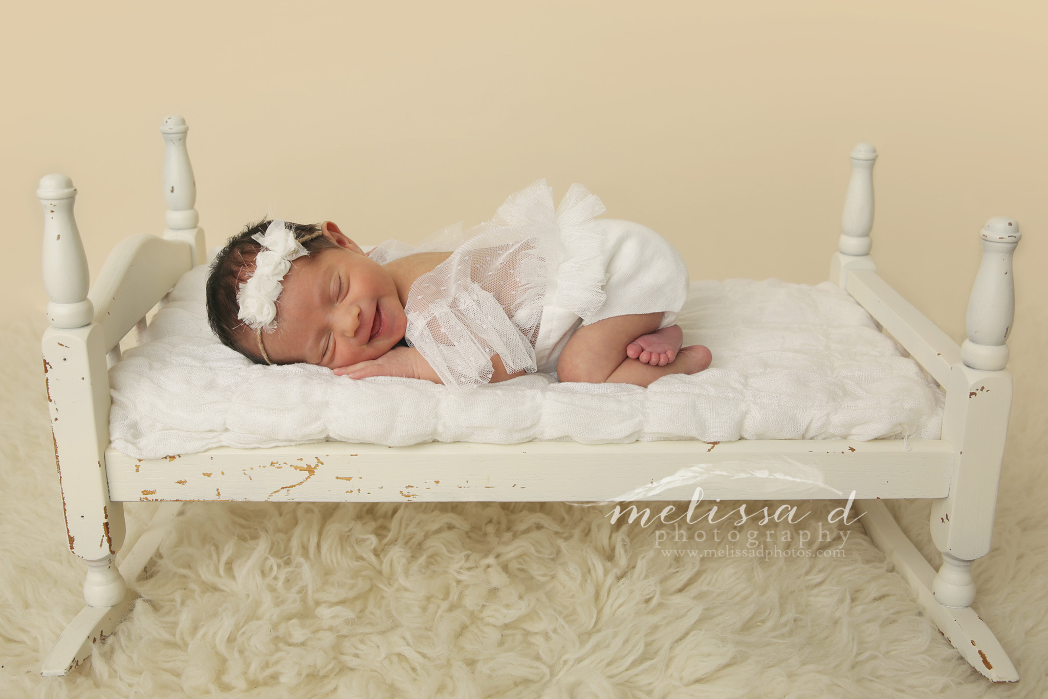DFW Newborn Photographer bed prop lace outfit